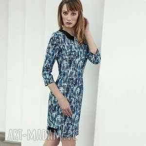 hand-made sukienki sukienka piksels niebieska