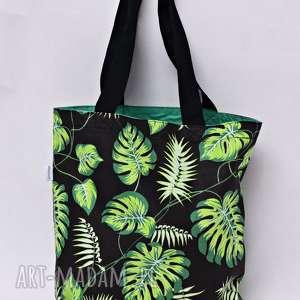 na zakupy torba shopperka liście monstera, torba, zakupy, ramię