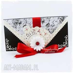 elegancka kopertówka - czarna, kopertówka, kokarda, kwiaty, perła, elegancja