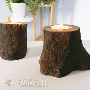 komplet 2 świeczniki drewno ciemne