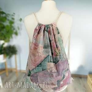plecak worek vintage, plecak, worek, pastelowy, xxl, duży