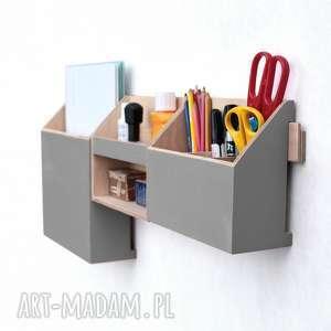 hand-made pudełka organizer - zestaw na ścianę szary