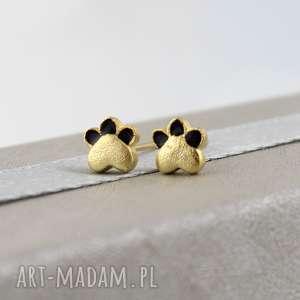 Mini kolczyki wkrętki - psie kocie łapki - złote