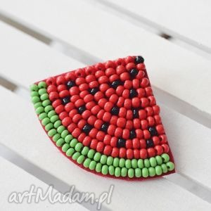 arbuzowa fiesta broszka, arbuz, lato, koraliki, wyszywana