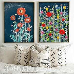 malgorzata domanska zestaw 2 prac 40x60cm, kwiaty, łąka, maki, plakat, obraz