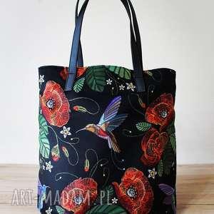 Worek hobo - maki i koliber na ramię torebki niezwykle elegancka