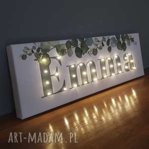 neon personalizowany obraz led z imieniem botaniczny eukaliptus dekoracja napis