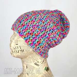 ciepła czapka z włóczki kolorowa beanie 004 kolorowa czapka, prezent