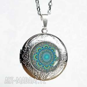 naszyjniki turkusowa mandala okrągły sekretnik, medalik, medalion, otwierany