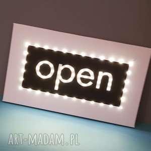 Świecący napis open, obraz led, dekoracja butiku, sklepu, pubu