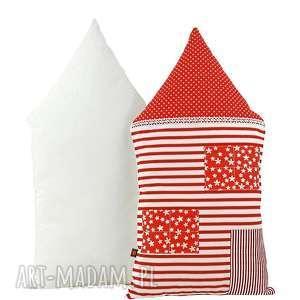 poduszka dekoracyjna wałek - domek w paski, poduszki, bawełna, oryginalna