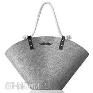 na ramię koszyk xxl mustache , koszyk, filcowy, plażowy, wąsy, moustache, zakupy
