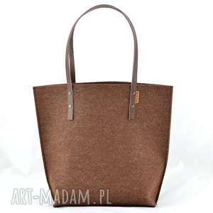 duża brązowa torba z filcu ze skórzanymi rączkami, zakupy, pojemna, skóra, filc