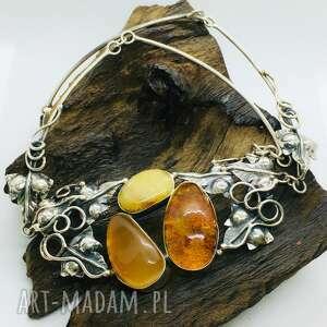 hand made naszyjniki naszyjnik z bursztynem bałtyckim srebro 925