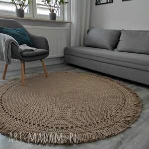 dywan boho ze sznurka bawełnianego 160 cm, dywan, szydełko, sznurek bawełniany