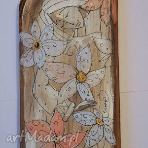 świąteczne prezenty Deska ręcznie malowana - z kwiatami, marinaczajkowska, dom