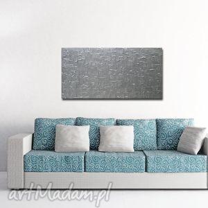 Obraz nowoczesny srebrny 3d - 126x70cm srebro aleobrazy obraz