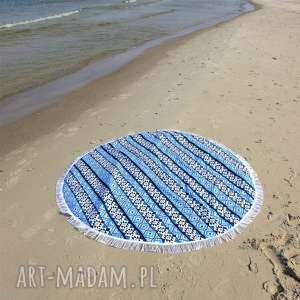 Fik - dwustronna mata koc dywanik 150 cm aztek niebieski, mata, recznik, koc, narzuta