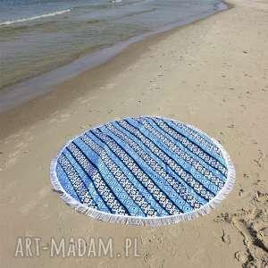 fik - dwustronna mata koc dywanik 150 cm aztek niebieski, mata, ręcznik