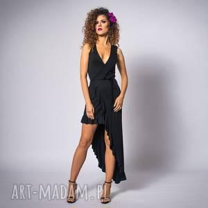 sukienki elena black night, asymetryczna, elastyczna, falbana
