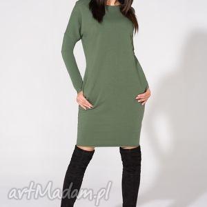 Sukienka 2w1 z kołnierzykiem w komplecie, T142, zielona, sukienka, dzianina, bawełna