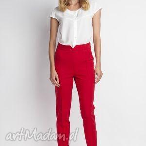 Spodnie z wysokim stanem, SD112 czerwony, wysokie, czerwone, długie, zamek