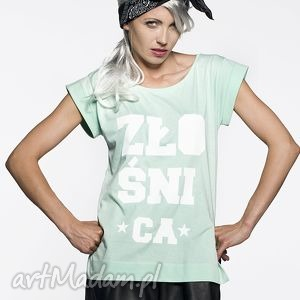 Prezent Koszulka Miętowa Złośnica, mięta, pastele, tshirt, prezent, piękna, nadruk