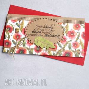 kartka kopertówka kwiaty polne maki, ślub, ślubna, polne, łąka