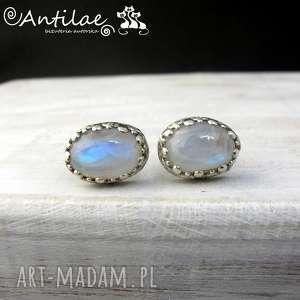 bersinar i - kamień księżycowy, srebro - sztyfty, kolczyki, moonstone