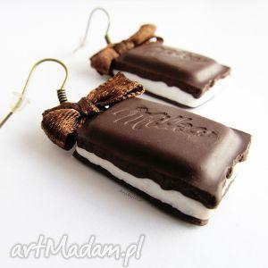 handmade kolczyki czekoladowe czekoladki kolczyki z nadzieniem