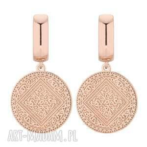 kolczyki z medalionami różowego złota, medaliony, eleganckie, masywne, duże
