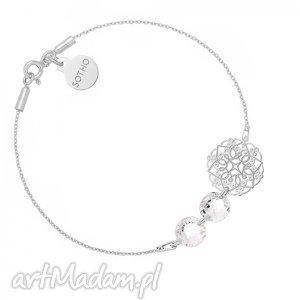 srebrna bransoletka z rozetką i kryształami swarovski® - minimalistyczna