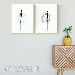 obrazy zestaw 2 obrazków a4 namalowanych ręcznie, minimalizm, abstrakcja