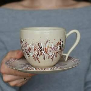 ciepliki filiżanka do kawy elegancka beż brąz złoto, ręcznie malowany