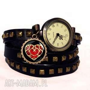 hand made bransoletki serce - zegarek / bransoletka na skórzanym pasku