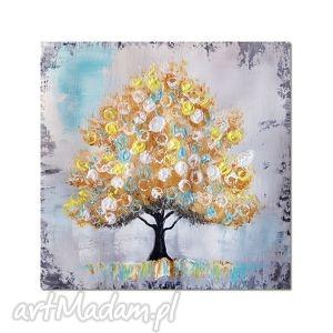 Złote drzewo, nowoczesny obraz ręcznie maowany, obraz, skandynawski, wnętrze