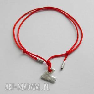 Serduszko bransoletka katarzyna kaminska srebro, sznurek, srece