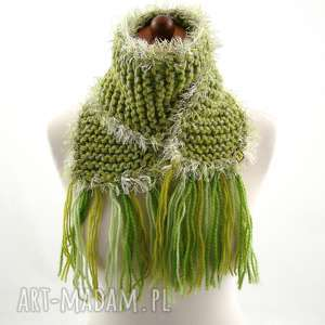 szalik zielony z frędzlami - szalik, szaliczek, frędzle, prezent, zimowy, zima