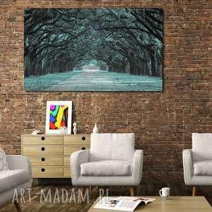 obrazy obraz alejka 1 miętowa - 120x70cm loft na płótnie aleja, obraz, alejka, aleja