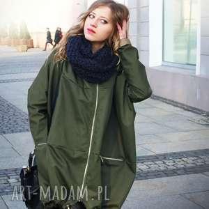 Khaki płaszcz oversize ogromny kaptur na jesień rozmiar M, kurtka-khaki, khaki