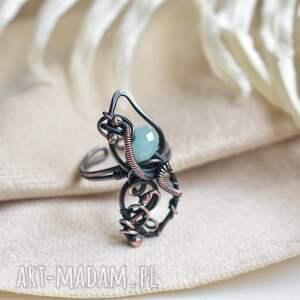 blue ice - pierścionek z jadeitem, duży, regulowany