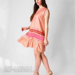 sukienki żakardowa sukienka z marszczoną falbaną, żakardowa, sukienka, letnia