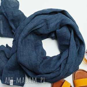 szaliki lniany szal chusta w kolorze granatowym, modny duży etola