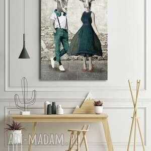 obraz drukowany na płótnie kozłowscy, kozy w ubraniach stylu vintage 80x120