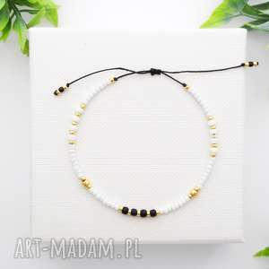 bransoletka koralikowa minimal - white, bransoletki, koralikowe, modna biżuteria
