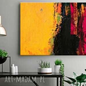 hand made dekoracje żółto różowy ambaras - obraz