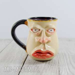 kubki kubek ceramiczny twarz, kawa, herbata, prezent, do kawy, pracy, unikat