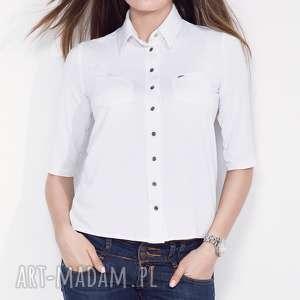 biała koszula damska z kołnierzykiem s, koszula, casual, do-pracy, bawełniana