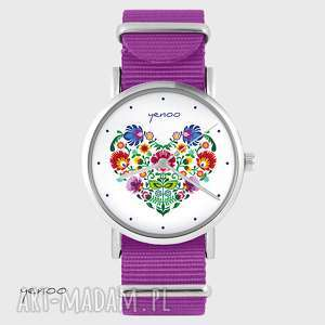 ręcznie wykonane zegarki zegarek - folkowe serce amarant, nato