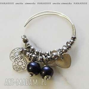 srebro kolczyki naturalne czarne perły w skrzydełkach